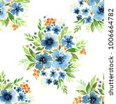 floral watercolor seamless... | Shutterstock . vector #1006664782