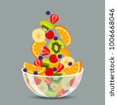 fresh fruit salad in a... | Shutterstock .eps vector #1006668046