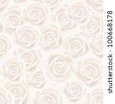 white roses seamless background | Shutterstock .eps vector #100668178
