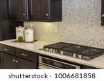 Stock photo new kitchen counter with containers 1006681858