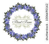 summer vintage blue floral... | Shutterstock .eps vector #1006690162
