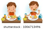 boy eating. emotions and... | Shutterstock .eps vector #1006713496