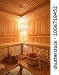 wooden sauna  wet area  steam ...   Shutterstock . vector #1006718452