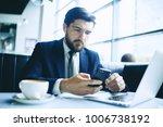 man with wireless earphone busy ... | Shutterstock . vector #1006738192