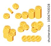set of gold coins on white...