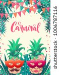 pineapples with carnival mask ...   Shutterstock .eps vector #1006787116