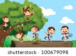 Monkeys On Log In The Forest