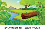 illustration of wilderness scene | Shutterstock .eps vector #100679236