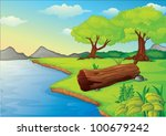 Illustration of trees and log hollow by the water
