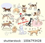 funny dogs sketches set. hand... | Shutterstock . vector #1006793428