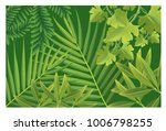 many green leaves on a green... | Shutterstock .eps vector #1006798255