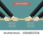 two businessmen pull the rope... | Shutterstock .eps vector #1006802536