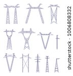 electric towers vector set ... | Shutterstock .eps vector #1006808332