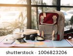 map in backpack  mobile phone... | Shutterstock . vector #1006823206