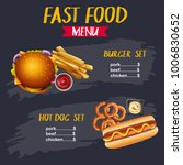 different types of fastfood on... | Shutterstock .eps vector #1006830652