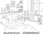 living room graphic black white ... | Shutterstock .eps vector #1006840642