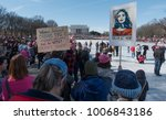 Small photo of WASHINGTON, DC - JAN. 20, 2018: Dream Act Now sign at rally at Lincoln Memorial for 1st anniversary of Women's March on Washington, demonstrating against the Donald Trump administration and policies.