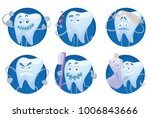 vector set of six round blue... | Shutterstock .eps vector #1006843666