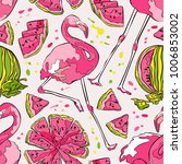 flamingo and watermelon.... | Shutterstock .eps vector #1006853002
