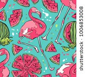 flamingo and watermelon.... | Shutterstock .eps vector #1006853008