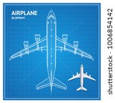 airplane blueprint plan top... | Shutterstock .eps vector #1006854142