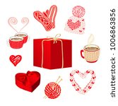cute knitted things and gift... | Shutterstock .eps vector #1006863856