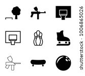 recreation icons. set of 9... | Shutterstock .eps vector #1006865026