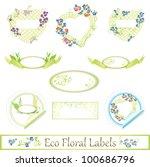 eco floral label set over white   Shutterstock .eps vector #100686796