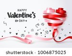twirl red and pink heart ribbon ... | Shutterstock .eps vector #1006875025