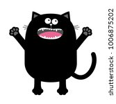 screaming meowing black cat... | Shutterstock .eps vector #1006875202