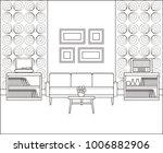room in line art. retro living... | Shutterstock .eps vector #1006882906