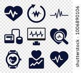 pulse icons. set of 9 editable... | Shutterstock .eps vector #1006890106