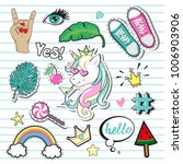 fashion patch badges with... | Shutterstock .eps vector #1006903906