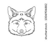 black and white sketch of fox... | Shutterstock .eps vector #1006906882