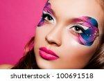 portrait of pretty brunette... | Shutterstock . vector #100691518