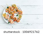 grilled shrimp skewers. seafood ... | Shutterstock . vector #1006921762