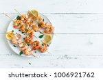 grilled shrimp skewers. seafood ... | Shutterstock . vector #1006921762