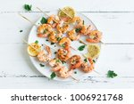 grilled shrimp skewers. seafood ... | Shutterstock . vector #1006921768
