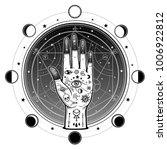 human hand has an all seeing... | Shutterstock .eps vector #1006922812