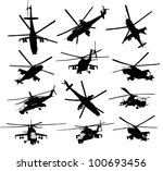 Mi-24 Hind combat helicopter silhouettes set. Vector on separate layers