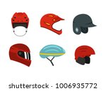 sport helmet icon set. flat set ... | Shutterstock .eps vector #1006935772