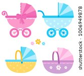 baby strollers in blue  yellow... | Shutterstock .eps vector #1006949878