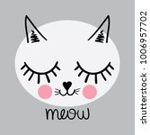cat face drawing and meow...   Shutterstock .eps vector #1006957702