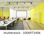 yellow wall office interior... | Shutterstock . vector #1006971406