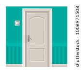 wooden door in turquoise wall... | Shutterstock .eps vector #1006971508