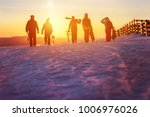 group of friends with ski and... | Shutterstock . vector #1006976026