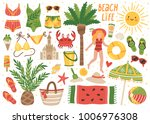 set of cute summer icons ... | Shutterstock .eps vector #1006976308