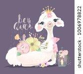 beautiful and cute llama ... | Shutterstock .eps vector #1006978822