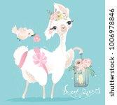 beautiful and cute llama ... | Shutterstock .eps vector #1006978846
