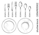 vintage knife  fork  spoon and... | Shutterstock .eps vector #1006985002